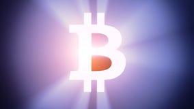 Bitcoin illuminato Fotografia Stock
