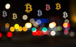 Bitcoin illusion. Concept. The most notable of the crypto-currencies has been Bitcoin, which was first created in 2009 royalty free stock photos