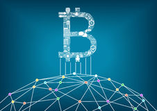 Bitcoin  illustration background with connected internet as an example for crypto currencies and block chain technology Royalty Free Stock Images