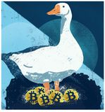 Bitcoin illustration. Goose that lays the golden Bitcoin. Illustration of Bitcoins Stock Photo