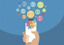 Bitcoin-Illustration mit Ikonen Hand, die modernes Einfassung-freies hält Lizenzfreies Stockfoto