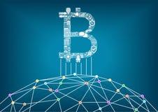 Bitcoin-Illustrationshintergrund mit verbundenem Internet als Beispiel für Schlüsselwährungen und Blockkettentechnologie lizenzfreie abbildung