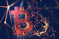 Bitcoin Illustrazione di Blockchain 3D Concetto futuristico del cryptocurrency estraente royalty illustrazione gratis
