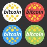 Bitcoin ilustraci round set Bitcoin, rynek papierów wartościowych i biznes, inwestować, robi pieniądze, zysk, cryptocurrency Dla  Obraz Stock