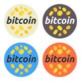 Bitcoin ilustraci round set Bitcoin, rynek papierów wartościowych i biznes, inwestować, robi pieniądze, zysk, cryptocurrency Dla  Fotografia Stock