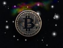 Bitcoin im Raum lizenzfreies stockfoto