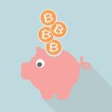 Bitcoin im Sparschwein Lizenzfreies Stockfoto