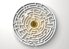 Bitcoin im zentralen Punkt der Labyrinthansicht von oben stock abbildung