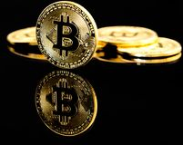 Bitcoin. Image of a Bitcoin on a black background Stock Photography