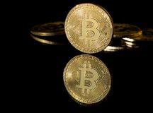 Bitcoin. Image of a Bitcoin on a black background Stock Photo