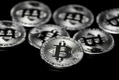Bitcoin. Image of a Bitcoin on a black background Royalty Free Stock Photo