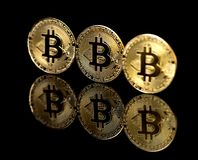 Bitcoin. Image of a Bitcoin on a black background Royalty Free Stock Photos