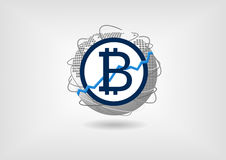 Bitcoin increase and growth concept as illustration stock illustration