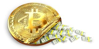 Bitcoin increased value by show a lot of US Dollar banknote spill out of a Giant bit coin, isolated white background. 3d Rendering. Illustration concept Royalty Free Stock Image
