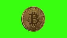 Bitcoin inestable de torneado en un fondo verde ilustración del vector