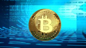 Bitcoin cyber currency, close up, golden coin, blue digital background royalty free illustration