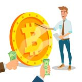 Bitcoin Innovative Start Up Vector. Monetization Project Idea Concept. Businessman With Big Bitcoin Sign. Isolated On. White Cartoon Business Character Royalty Free Stock Photography
