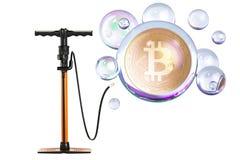 Bitcoin inside soap bubble with pump. Financial bubble concept,. 3D Stock Photos