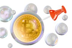 Bitcoin inside soap bubble with push pin. Financial bubble conce. Pt 3d Royalty Free Stock Photos
