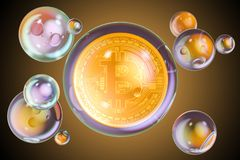 Bitcoin inside soap bubbles. Financial bubble concept, 3D render. Bitcoin inside soap bubbles. Financial bubble concept, 3D Stock Photo