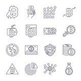 Bitcoin, insieme monocromatico sottile dell'icona delle icone di Cryptocurrency, corredo in bianco e nero Colpo editabile illustrazione vettoriale