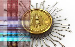 bitcoin integrerad chip 3d stock illustrationer