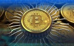 bitcoin integrerad chip 3d Royaltyfri Fotografi