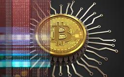 bitcoin integrerad chip 3d royaltyfri illustrationer