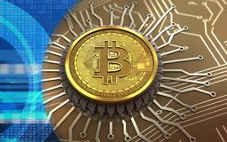 bitcoin integrerad chip 3d Arkivfoton