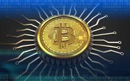bitcoin integrerad chip 3d Royaltyfria Bilder