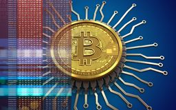 bitcoin integrerad chip 3d Royaltyfri Foto