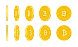 Bitcoin, Internet-geplaatste muntmuntstukken, klaar animatie Gele de muntstukkenomwenteling van BTC Cryptocurrency, Di vector illustratie