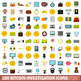 100 bitcoin investigation icons set, flat style Stock Photo