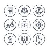 Bitcoin investments, payments, exchange line icons. Bitcoin investments, payments and exchange line icons on white, eps 10 file, easy to edit Royalty Free Stock Photos