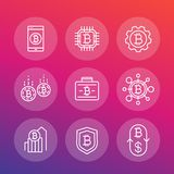 Bitcoin investments, payments icons, linear style. Eps 10 file, easy to edit Stock Images
