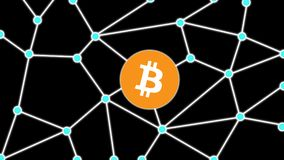 Bitcoin Isolated Black Background Network Concept. Bitcoin isolated in blockchain network background concept design Stock Image