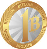 Bitcoin. Isolated coin of one bitcoin - cryptocurrency Stock Photography