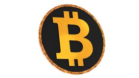 Bitcoin isolated on white background. Domination concept. New virtual money, 3D rendering Royalty Free Stock Photography
