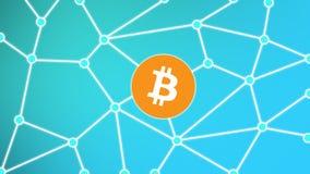 Bitcoin isolerade blått bakgrundsnätverksbegrepp Royaltyfria Foton