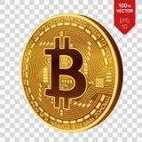 Bitcoin isometrische körperliche Münze des Stückchen 3D Cryptocurrency Goldene Münze mit bitcoin Symbol lokalisiert auf transpare Lizenzfreie Stockbilder