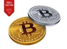 Bitcoin isometrische körperliche Münze des Stückchen 3D Goldene und Silbermünzen mit bitcoin Symbol lokalisiert auf weißem Hinter Lizenzfreie Stockbilder