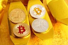 Bitcoin ist die digitale Münze und ein cryptocurrency Lizenzfreie Stockfotografie