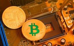 Bitcoin ist die digitale Münze und ein cryptocurrency Stockfoto