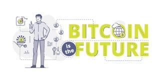 Bitcoin ist die zukünftige Netzfahne Stockfotos