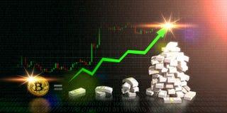 Bitcoin jämlike till den stigande riktningen för pengarhandel på graf stock illustrationer