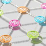 Bitcoin jämlike-till-jämlike nätverk Arkivbild