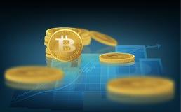 Bitcoin Körperliche Stückchenmünze Eine digitale Währung Das cryptocurrency Goldmünze mit dem bitcoin Symbol Auf dem Diagramm von Stockfoto