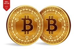 Bitcoin kassa Crypto valuta isometriska mynt för läkarundersökning 3D Digital valuta Guld- mynt med Bitcoin det kontanta symbolet royaltyfri illustrationer