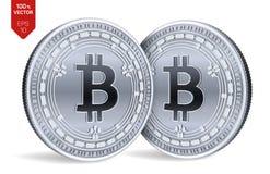 Bitcoin kassa Crypto valuta isometriska mynt för läkarundersökning 3D Digital valuta Silvermynt med Bitcoin det kontanta symbolet royaltyfri illustrationer