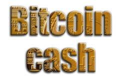 Bitcoin kassa Inskriften har en textur av fotografiet, som visar flera bitcoins arkivbild